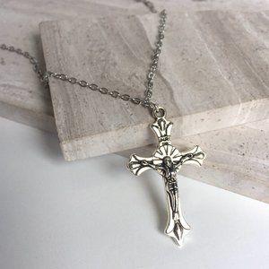 Silver Cross Crucifix Necklace — Fleur de lys